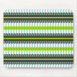 Modern Green, Blue, Brown Stripes & Dots Pattern Mouse Pad