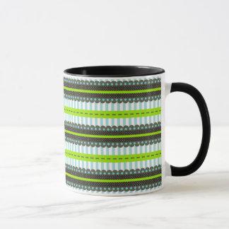 Modern Green, Blue, Brown Stripes & Dots Pattern Mug