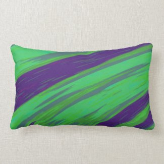 Modern Green Blue Color Swish abstract Lumbar Pillow