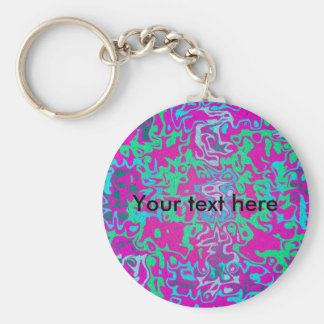 Modern green blue psychedelic on pink background basic round button keychain