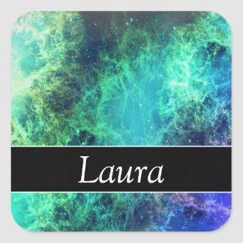 Modern Green Blue Space Water Nebula Monogram Square Sticker by RainbowChild_Art at Zazzle