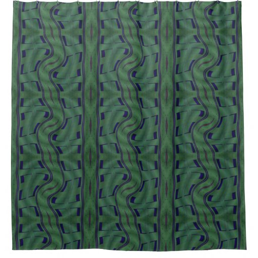 Modern green blue squares lines pattern shower curtain - Green curtain patterns ...