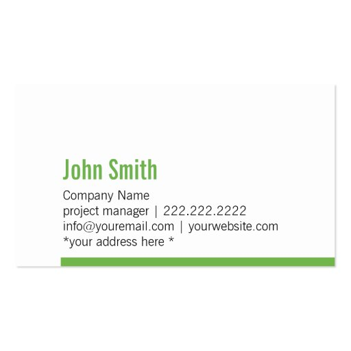 Modern Green Bold Border Business Card (front side)