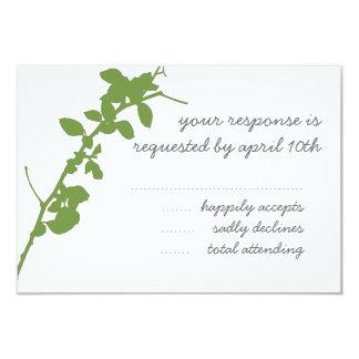 Modern Green Branch RSVP wedding card