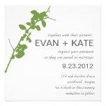 Modern Green Branch Wedding Invitation