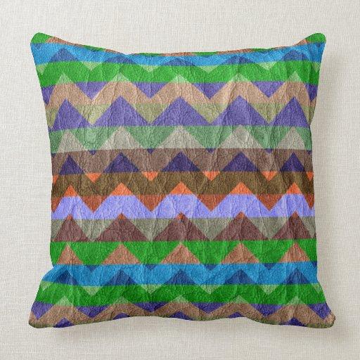 Modern Green Chevron Leather Throw Pillows Zazzle