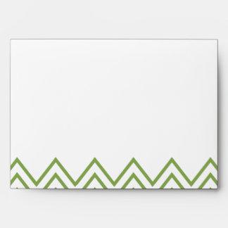 Modern Green Chevron Wedding Envelope
