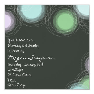 Modern Green Circle Design Birthday Invitation