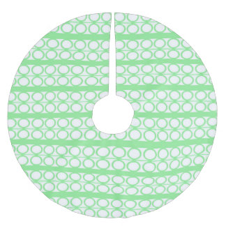 Modern Green Circles Lines Pattern Brushed Polyester Tree Skirt