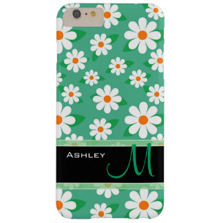 Modern Green Daisy Floral Flowers Pattern Monogram Barely There iPhone 6 Plus Case