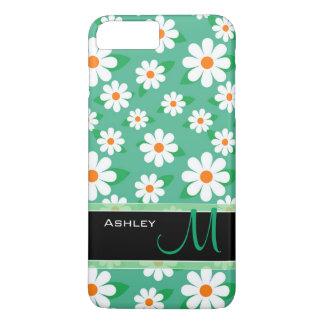 Modern Green Daisy Floral Flowers Pattern Monogram iPhone 8 Plus/7 Plus Case