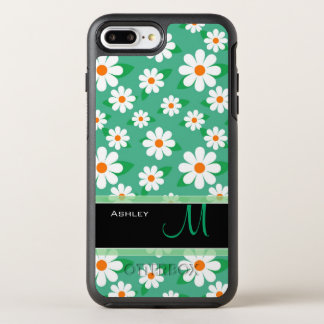 Modern Green Daisy Floral Pattern Monogram Name OtterBox Symmetry iPhone 7 Plus Case