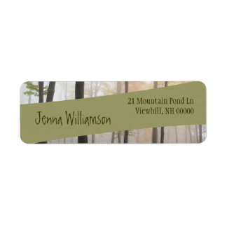 Modern Green Diagonal Ribbon on Misty Forest Label