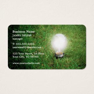 Modern Green Energy Light Bulb Grass Business Card