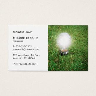Modern Green Energy Light Bulb Grass Photo Business Card