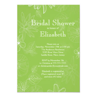 Modern Green Fall Leaves flowers Bridal Shower Personalized Announcements