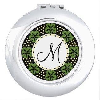 Modern Green Floral Pattern Frame Monogrammed