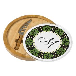 Modern Green Floral Pattern Frame Monogrammed Cheese Platter