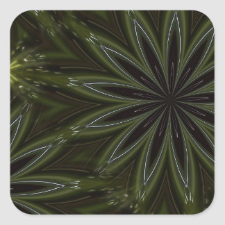 Modern Green Glass Abstract Square Sticker