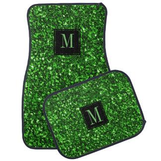 Modern Green Glitter Black Accent Car Mat