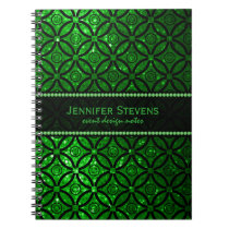Modern Green Glitter & Black Geometric Pattern Notebook