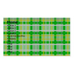 Modern green gold and silver plaid Double-Sided standard business cards (Pack of 100)