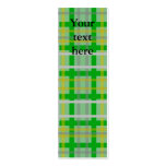 Modern green gold and silver plaid Double-Sided mini business cards (Pack of 20)