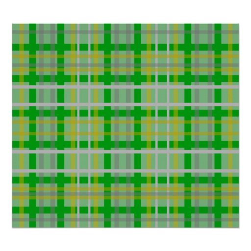 Modern green gold and silver plaid poster