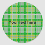 Modern green gold and silver plaid classic round sticker