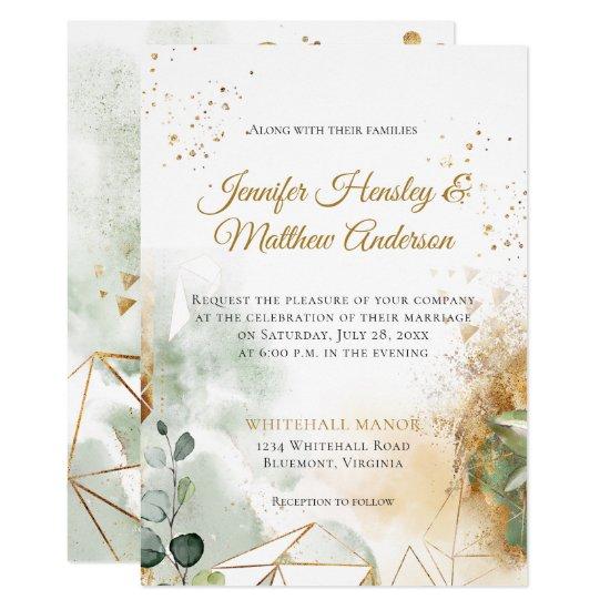 Modern Green Gold Botanical Geometric Wedding Invitation