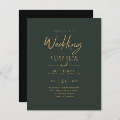Modern Green Gold Budget Wedding Invites