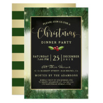Modern Green & Gold Christmas Dinner Party Invites