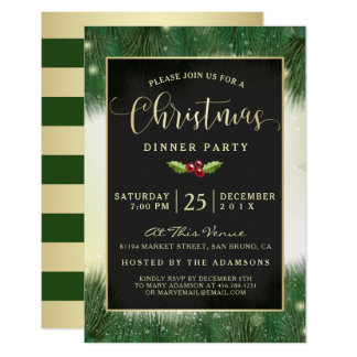 Modern Green & Gold Christmas Dinner Party Invites