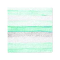 Modern green gray watercolor jute stripes pattern canvas print