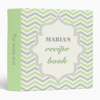 Modern green, grey chevron zigzag recipe binder