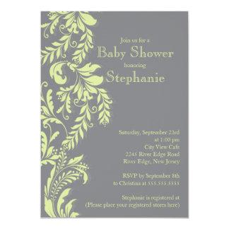 Modern Green Grey Floral Leaf Neutral Baby Shower Card