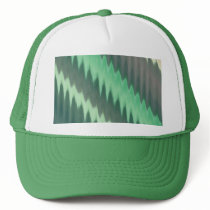 Modern Green Grey Turquoise Ikat Chevron Zigzag Trucker Hat