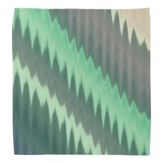 Modern Green Grey Turquoise Ikat Chevron Zigzag Bandana
