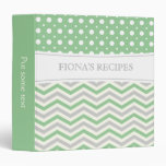 Modern green grey, white chevron & polka dot binder
