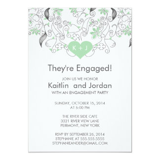 Modern Green Heart with Flowers Engagement Party Personalized Invitations