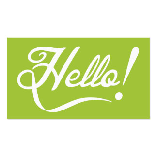 Modern Green - Hello Double-Sided Standard Business Cards (Pack Of 100)
