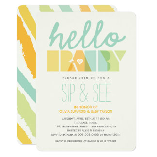 Modern Green Hello Sip & See Baby Shower Invite
