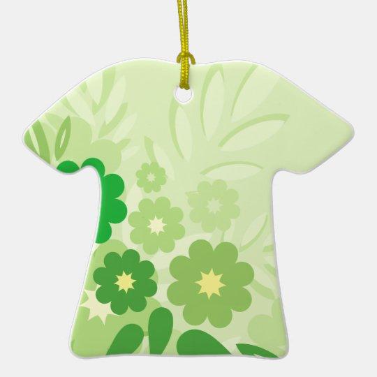 Modern Green Leaf and Flowers Ceramic Ornament