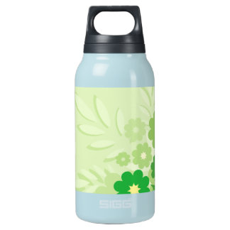 Modern Green Leaf and Flowers Insulated Water Bottle