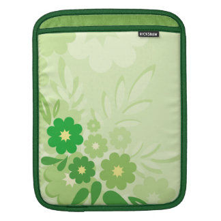 Modern Green Leaf and Flowers Sleeves For iPads