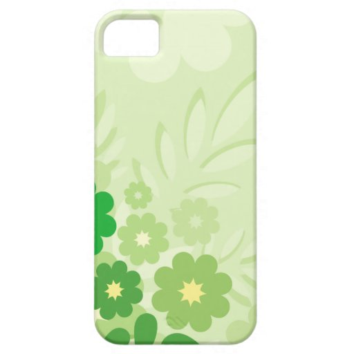 Modern Green Leaf and Flowers iPhone 5 Cover
