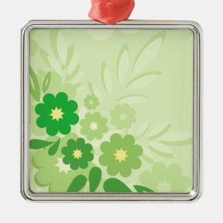 Modern Green Leaf and Flowers Metal Ornament