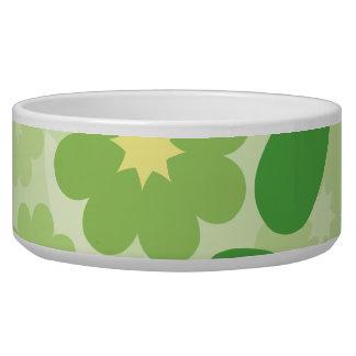 Modern Green Leaf and Flowers Pet Food Bowls
