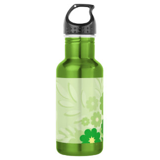 Modern Green Leaf and Flowers Stainless Steel Water Bottle