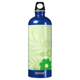 Modern Green Leaf and Flowers Water Bottle